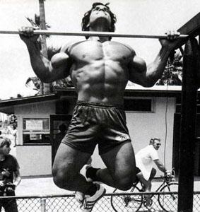 Franco Columbu Pull Ups on Muscle Beach