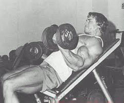 Arnold Schwarzenegger Incline Dumbbell Curls